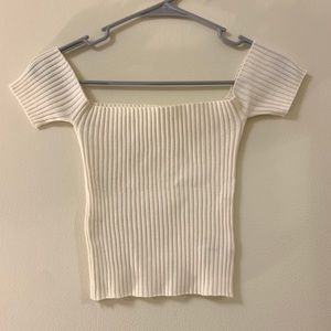 Ribbed Off The Shoulder Top